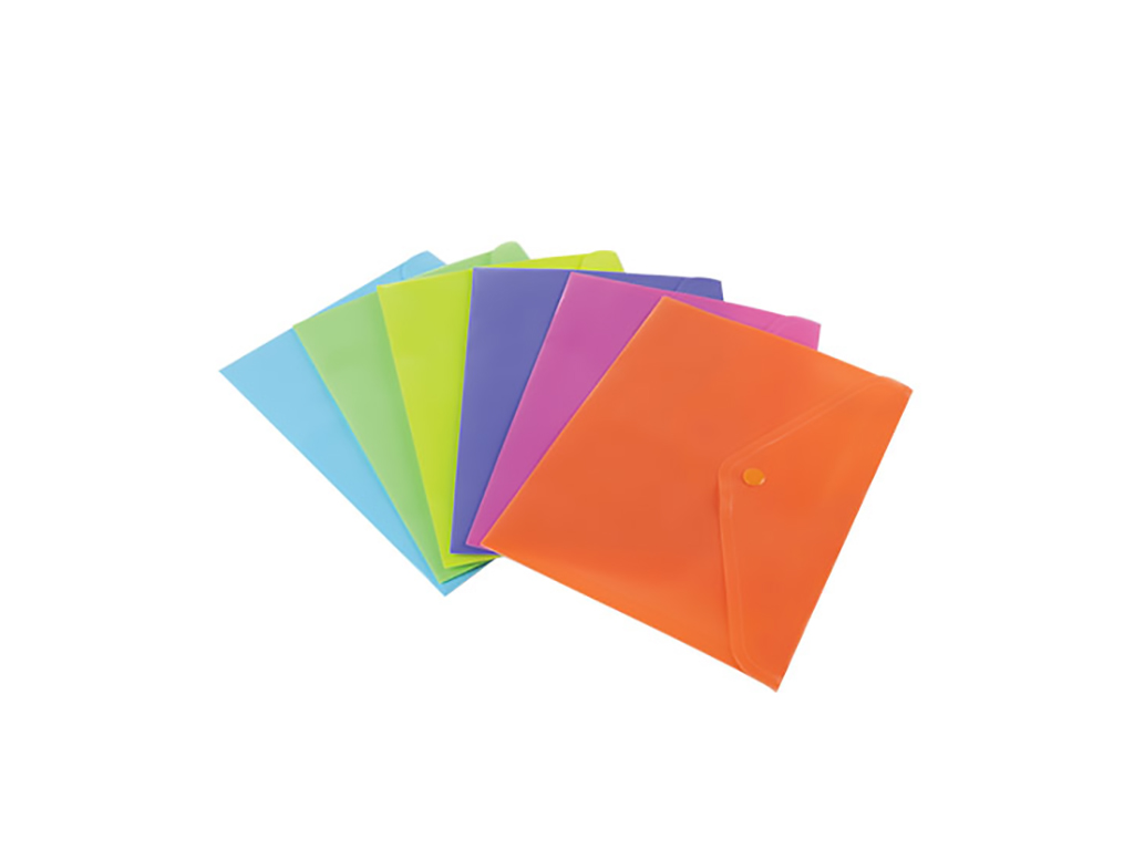 Busta A5 con bottone fluo 5pz. colori assortiti